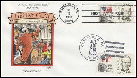 1846 / 4c Henry Clay : Great Americans Series Dual Cancel 1983 Collins Hand-Painted FDC