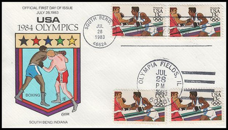 2048 - 2051 / 13c Summer Olympic Games : Dual Cancel Set of 4 Collins Hand-Painted 1983 FDCs