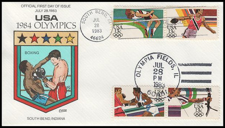 2048 - 2051 / 13c Summer Olympic Games : Dual Cancel On 1 Collins Hand-Painted 1983 FDC