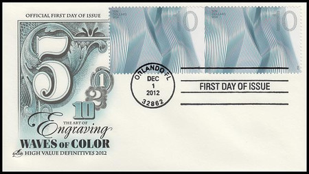 4717 - 4720 / $1 $2 $5 $10 Waves of Color Attached Pairs Set Of 4 Artcraft 2012FDC