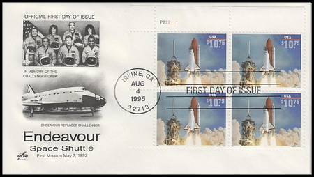 2544A / $10.75 Endeavour Shuttle Taking Off Express Mail Plate Block 1995 Artcraft FDC