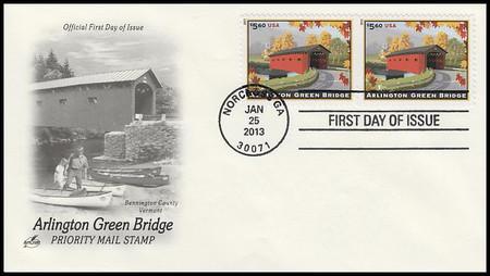4738 / $5.60 Arlington Green Bridge Priority Mail Attached Pair 2013 Artcraft FDC