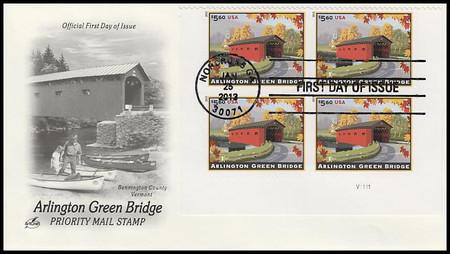 4738 / $5.60 Arlington Green Bridge Priority Mail Plate Block 2013 Artcraft FDC