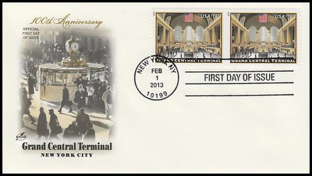 4739 / $19.95 Grand Central Terminal Express Mail Attached Pair 2013 Artcraft FDC