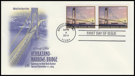 4872 / $5.60 Verrazano - Narrows Bridge Priority Mail Attached Pair 2014 Artcraft FDC
