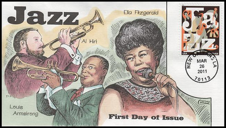 4503 / 44c Jazz 2011 Collins Hand-Painted FDC