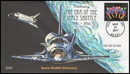 4502 / 44c Celebrate! : The Era Of The Space Shuttle 2011 Collins Hand-Painted FDC