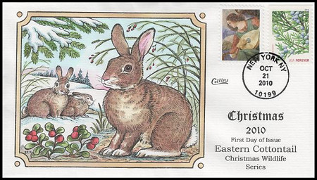 4477 / 44c Angel With Lute : Eastern Cottontail : Christmas Wildlife Series 2010 Collins Hand-Painted FDC