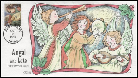 4477 / 44c Angel With Lute 2010 Collins Hand-Painted FDC