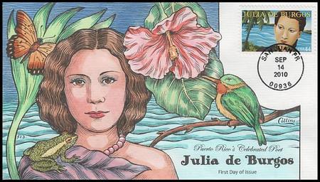 4476 / 44c Julia De Burgos : Literary Arts Series 2010 Collins Hand-Painted FDC