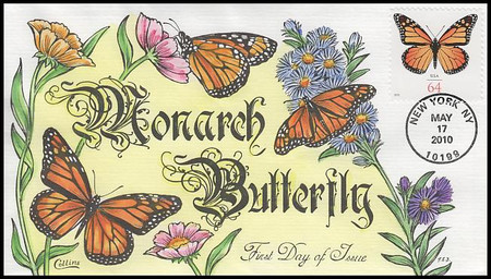 4462 / 64c Monarch Butterfly 2010 Collins Hand-Painted FDC