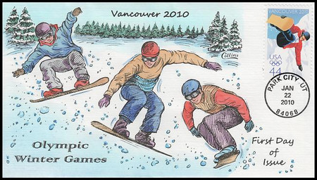 4436 / 44c Vancouver Winter Olympics 2010 Collins Hand-Painted FDC