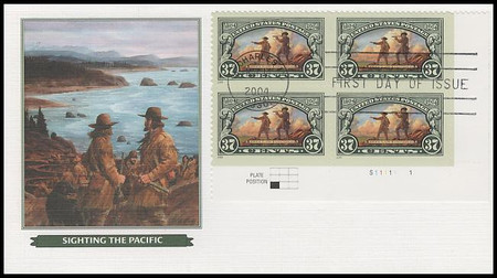 3854 / 37c Lewis and Clark Expedition Bicentennial Plate Block Fleetwood 2004 FDCs