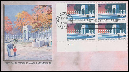 3862 / 37c National World War II Memorial PSA Plate Block 2004 Fleetwood FDC