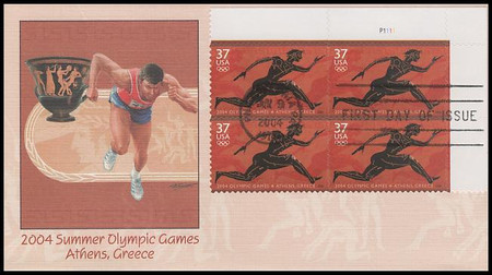3863 / 37c Summer Olympic Games PSA Plate Number 2004 Fleetwood FDC