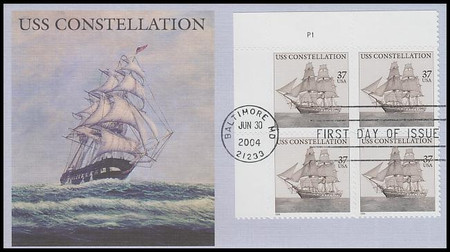 3869 / 37c USS Constellation PSA Plate Block 2004 Fleetwood FDC