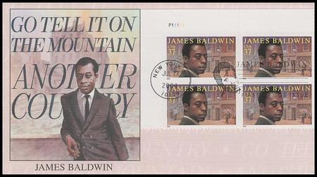 3871 / 37c James Baldwin PSA : Literary Series Plate Block 2004 Fleetwood FDC