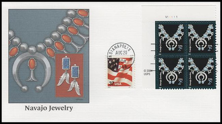 3750 / 2c Navajo Jewelry : American Design Series Plate Block 2004 Fleetwood FDC