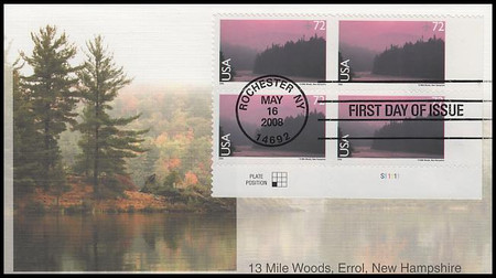 C144 / 72c 13 Mile Woods - New Hampshire : Airmail Plate Block Fleetwood 2008 First Day Cover