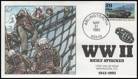 2765a - j / 1943 : Turning the Tide  Set of 10 : World War II / WWII Series 1993 Collins Hand-Painted First Day Covers