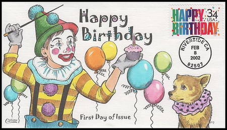 3558 / 34c Happy Birthday Collins Hand-Painted 2000 FDC