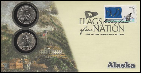 4275 / 42c Flags Of Our Nation : Alaska State Quarter Coin Fleetwood 2008 First Day Cover
