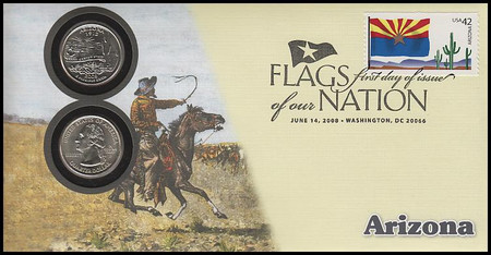 4277 / 42c Flags Of Our Nation : Arizona State Quarter Coin Fleetwood 2008 First Day Cover