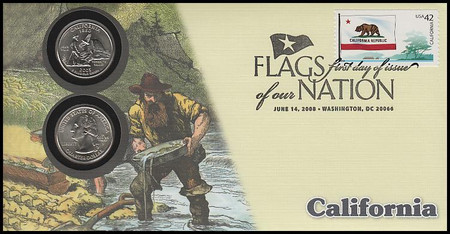 4279 / 42c Flags Of Our Nation : California State Quarter Coin Fleetwood 2008 First Day Cover