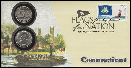 4281 / 42c Flags Of Our Nation : Connecticut State Quarter Coin Fleetwood 2008 First Day Cover