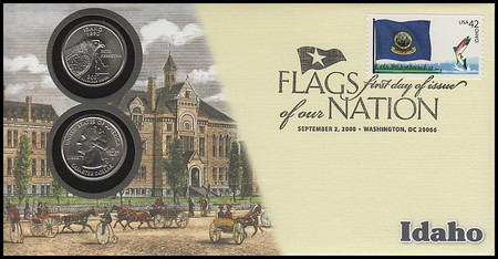 4288 / 42c Flags Of Our Nation : Idaho State Quarter Coin Fleetwood 2008 First Day Cover