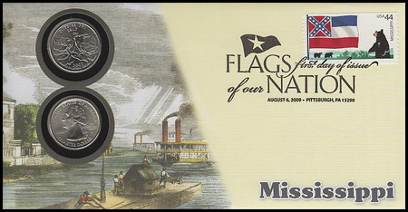 4293 - 4302 / 44c Flags of Our Nation with PNC State Quarters Coins Set of 10 Fleetwood 2009 FDCs
