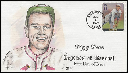 3408s / 33c Dizzy Dean : Legends Of Baseball Collins Hand-Painted 2000 FDC