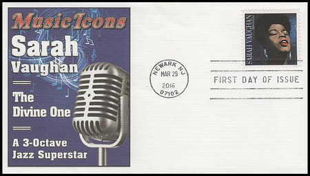5059 / 49c Sarah Vaughan : Music Icons Series Fleetwood 2016 FDC (SOME CREASES, SEE PICS)