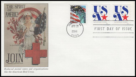 5061 / 5c USA and Star Coil Pair Fleetwood 2016 First Day Cover