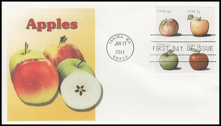 4730a / 33c Apples Se-Tenant Block Fleetwood 2013 First Day Cover