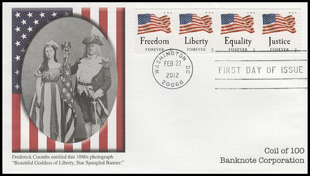 4640a / 45c Four Flags : Banknote Corp. Coil Strip of 4 Fleetwood 2012 FDC