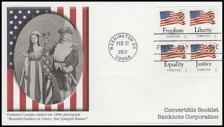 4648a / 45c Four Flags : Banknote Corp. Covertible Bklt Pane of 4 Fleetwood 2012 FDC