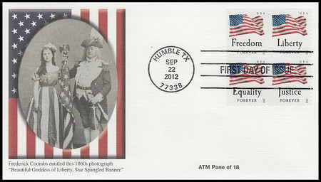 4709a / 45c Four Flags ATM Booklet Pane of 4 Fleetwood 2012 FDC