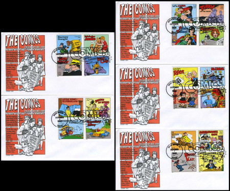 3000a - t 32c Classic Comic Strips All 20 Stamps on 5 GAMM 1995 FDCs