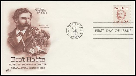 2196 / $5 Bret Harte 1987 Artcraft First Day Cover