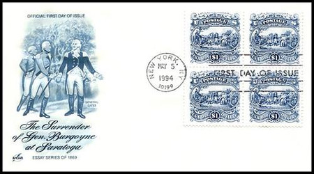 2590 / $1 Surrender of Burgoyne Block of 4 Artcraft 1994 FDC