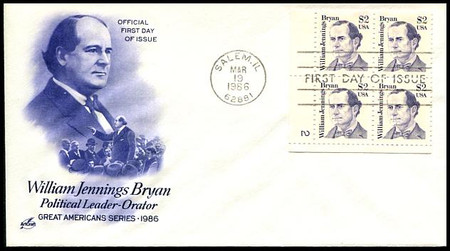 2195 / $2 William Jennings Bryans Plate Block Artcraft First Day Cover