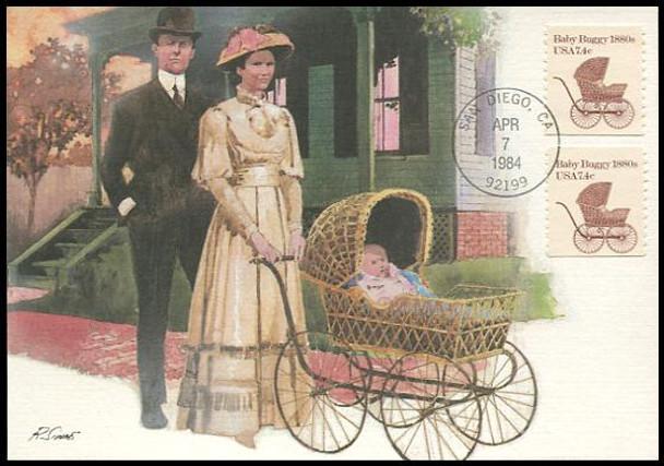 1902 / 7.4c Baby Buggy 1880s Coil 1984 Fleetwood Maximum Card