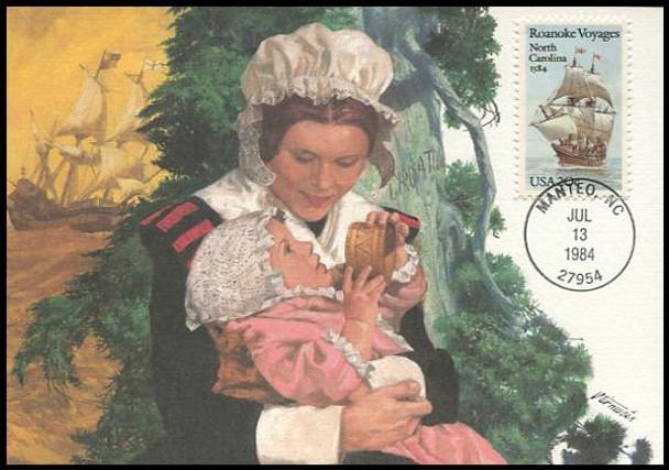 2093 / 20c Roanoke Voyages 1984 Fleetwood Maximum Card