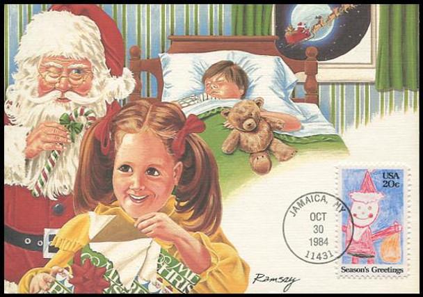 2108 / 20c Santa Claus : Christmas Series 1984 Fleetwood Maximum Card