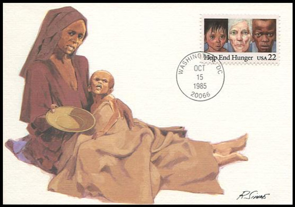 2164 / 22c Help End Hunger 1985 Fleetwood Maximum Card