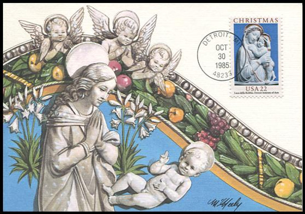2165 / 22c Madonna and Child by Luca Della Robbia: Christmas Series 1985 Fleetwood Maximum Card