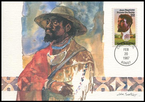 2249 / 22c Jean Baptiste Point Du Sable : Black Heritage Series 1987 Fleetwood First Day of Issue Maximum Card
