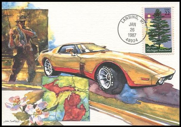 2246 / 22c Michigan 150th Anniv of Statehood : Statehood Series 1987 Fleetwood First Day of Issue Maximum Card