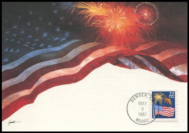 2276 / 22c Flag with Fireworks 1987 Fleetwood First Day of Issue Maximum Card